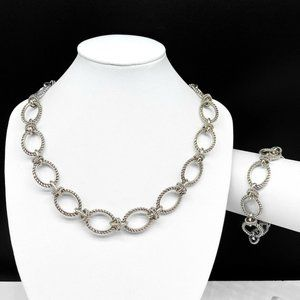 Cookie Lee Silver Chain Link Necklace & Bracelet